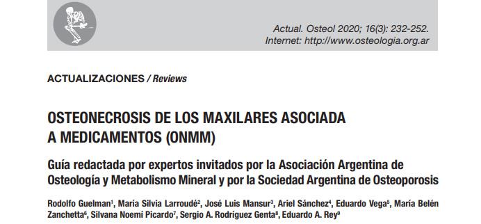 Guía Osteonecrosis de los maxilares asociadas a medicamentos